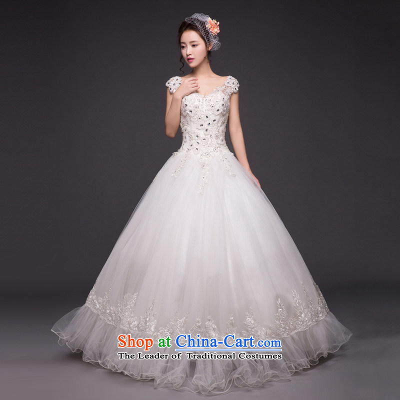 Align the new 2015 to shoulder wedding dress, Korea Top Loin brides fall wedding dress video out of thin White�XXL