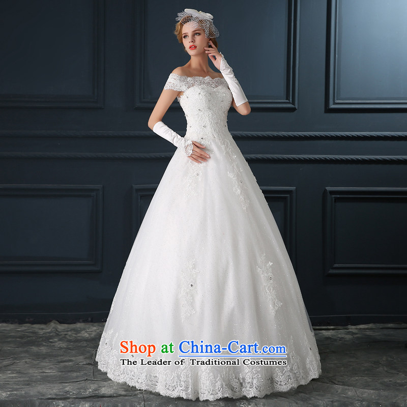 Wedding dress?2015 new Korean minimalist A Field Alignment to customize the bride skirt video word thin shoulders wedding female White?XXL