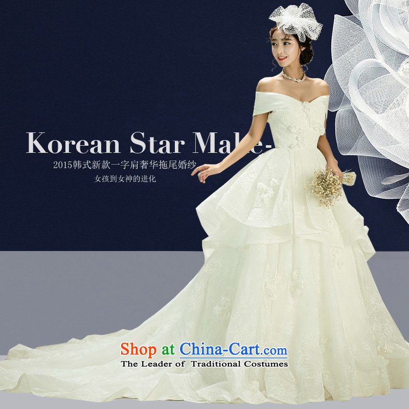 2015 new Korean wiping the chest wedding tail of the word shoulder wedding dress the Sau San bride white?L