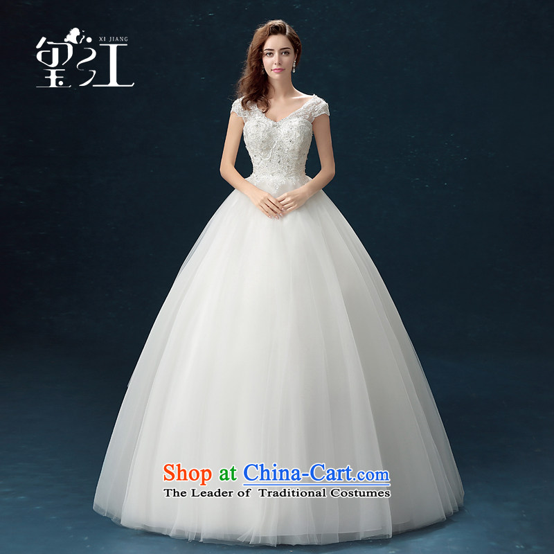 Jiang wedding dresses seal 2015 autumn and winter Korean brides wedding dress skirt white lace a large shoulder straps to align the Sau San wedding dress bon bon female white tailored