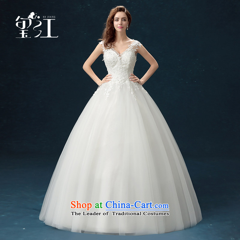 Jiang wedding dresses seal 2015 autumn and winter Korean brides wedding dress skirt white lace a large shoulder straps to align the Sau San wedding dress bon bon female white M