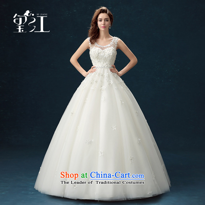 Seal Jiang wedding dresses winter 2015 new products Korean brides wedding dress white flowers shoulders to align the large number of pregnant women with lace video thin bon bon skirt female white tailored