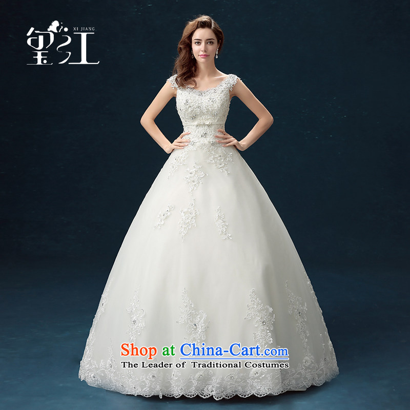 Jiang wedding dresses seal 2015 Winter Korean brides wedding dress skirt white lace a large shoulder straps to align graphics Sau San thin bon bon skirt female white L