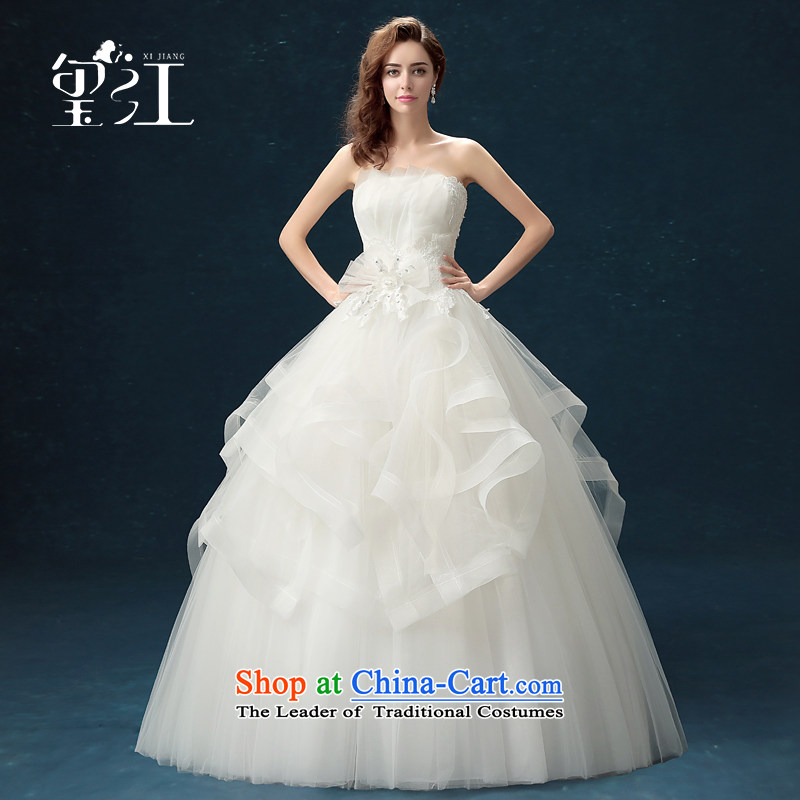 Seal Jiang wedding dresses of autumn and winter 2015 Korean brides anointed Chest Flower white wedding dress code with large Sau San to align the wedding dress female white?M