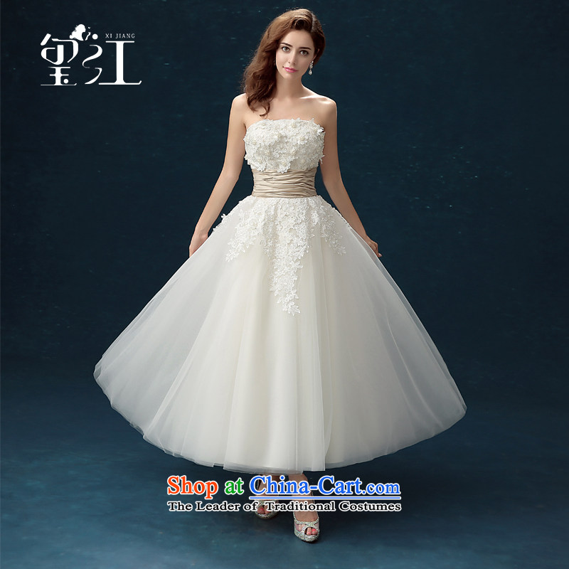 Seal wedding dresses Jiang bows winter 2015 skirt new products and chest wedding dress with a large number of Sau San bind people long wiped under the auspices of chest lace bridesmaid to female white?M