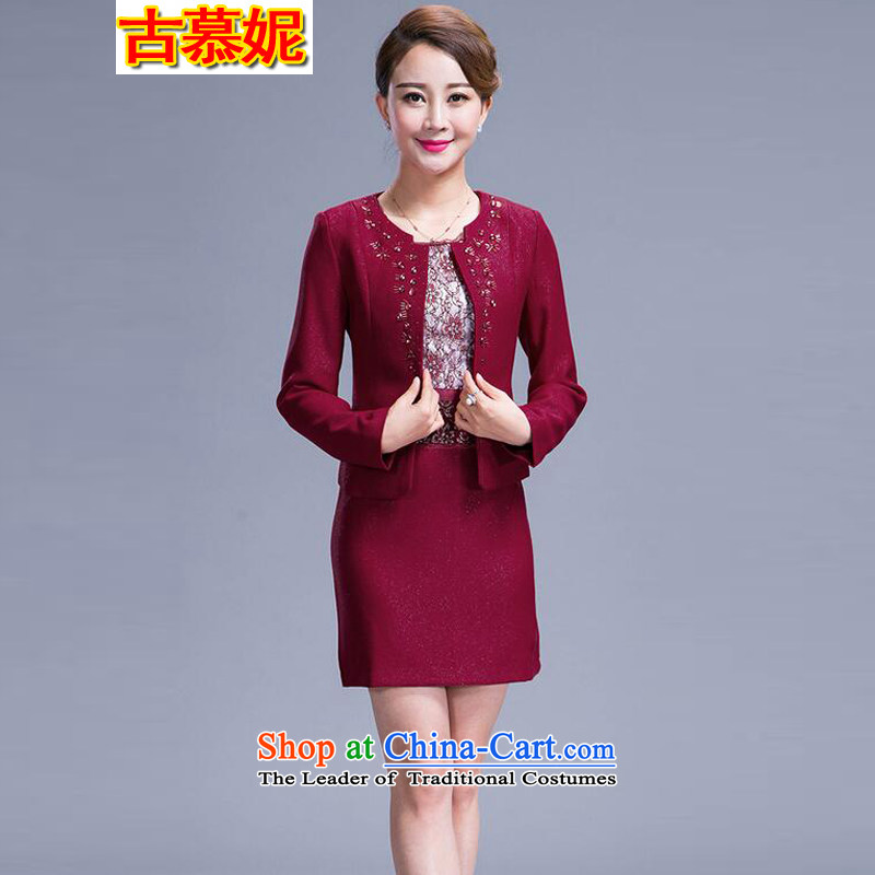 The 2015 autumn ancient Connie boxed wedding ceremony for larger older women's mother with two-piece dresses RED M