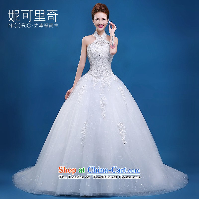 Wedding dress of autumn and winter 2015 new Korean Marriages also wedding Align hook to lace video thin straps wedding Sau San white?L