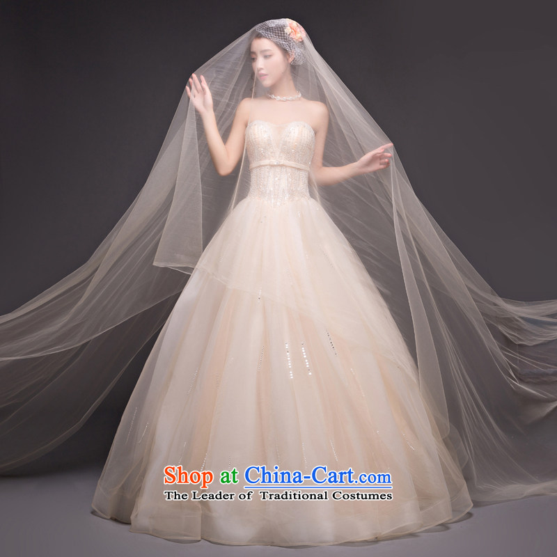 Align the bride with chest wedding dress champagne color water drilling autumn and winter Korean style wedding dresses and stylish home of Sau San champagne color M