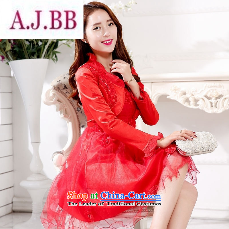 Ms Rebecca Pun stylish shops lace red petticoat brides fall back door onto the betrothal married long-sleeved dresses fall inside marriage bows Service Bridal Red XXXL