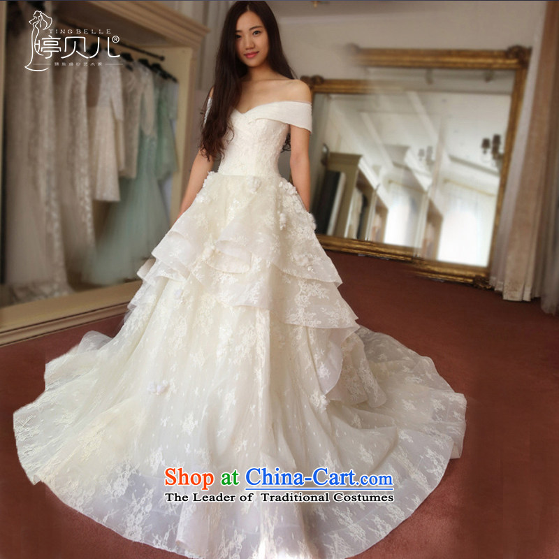 Beverly Ting 2015 Autumn new long tail wedding dresses Korean word shoulder v-neck marriages wedding photography custom autumn white streak of?L