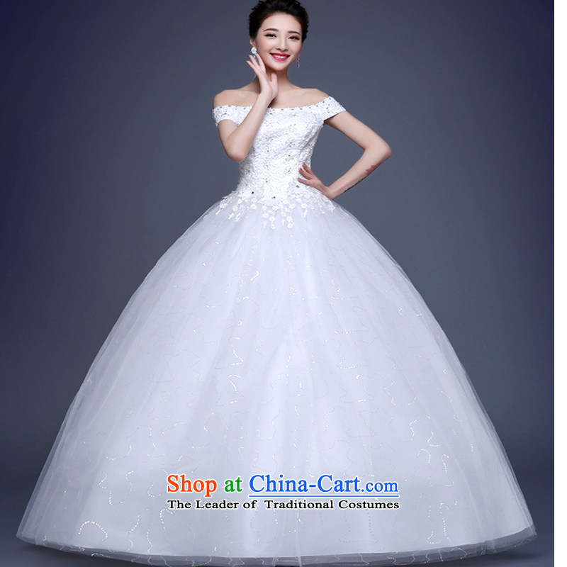 On earlier wedding dresses 2015 new stylish Korean version of the word to bind your shoulders with large video thin bride wedding rushed petticoat GLOVES AND LEGAL?S