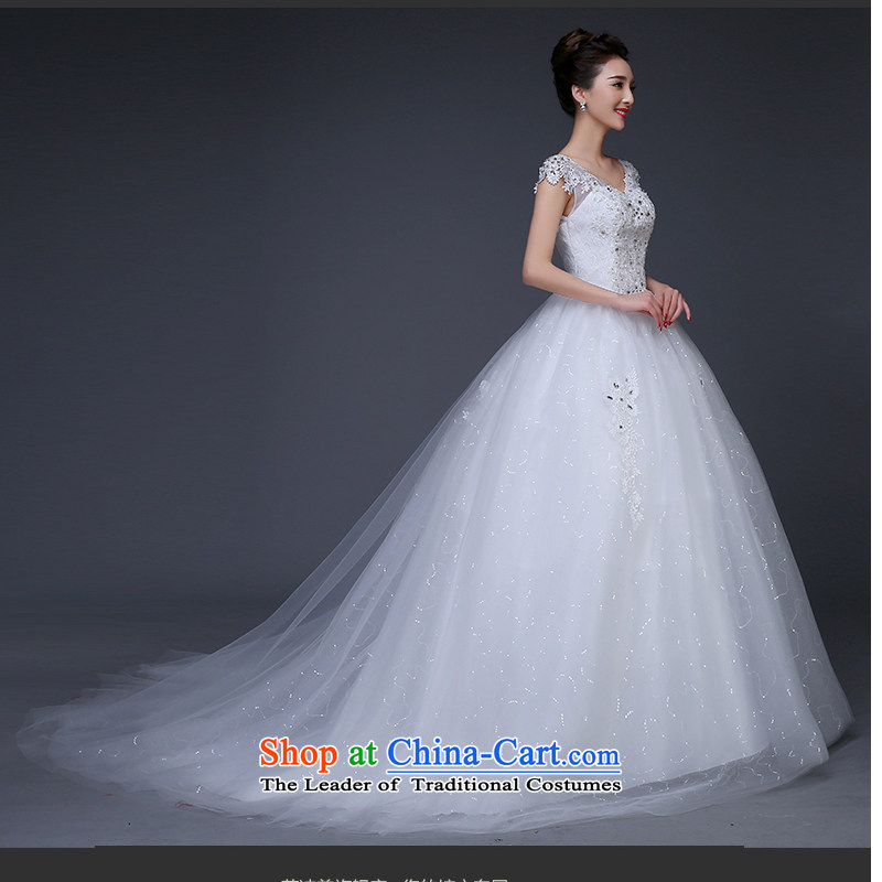 As wedding dresses on 2015 autumn and winter shoulders to align the Korean style v-neck video large thin thick m tail pregnant women strap wedding white streak?M