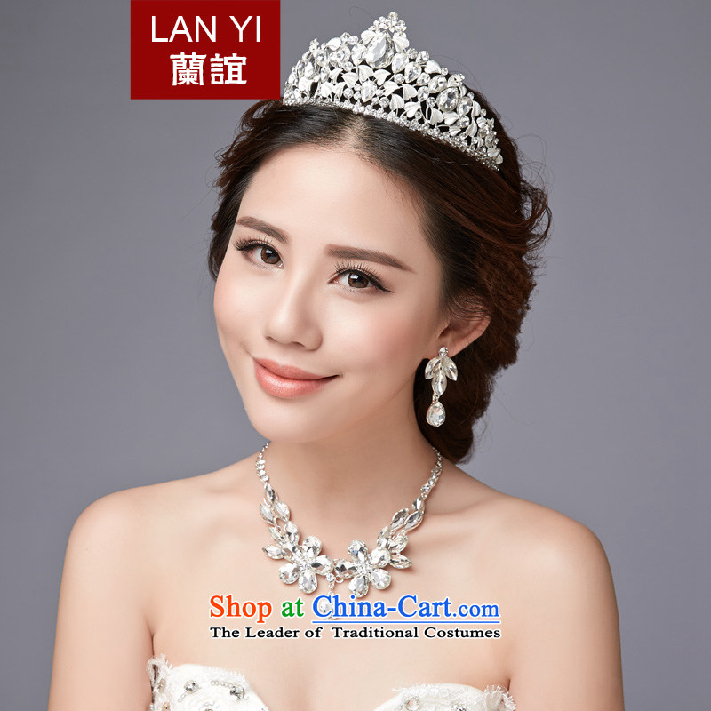 The Friends of the bride jewelry and ornaments three kit wedding accessories Korea wedding crystal diamond necklace earrings hair accessories beige 3-piece set