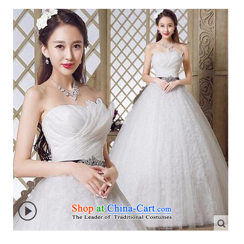 As wedding dresses, 2015 New Korean anointed chest to Sau San video thin minimalist bon bon skirt straps, Wedding White聽XL