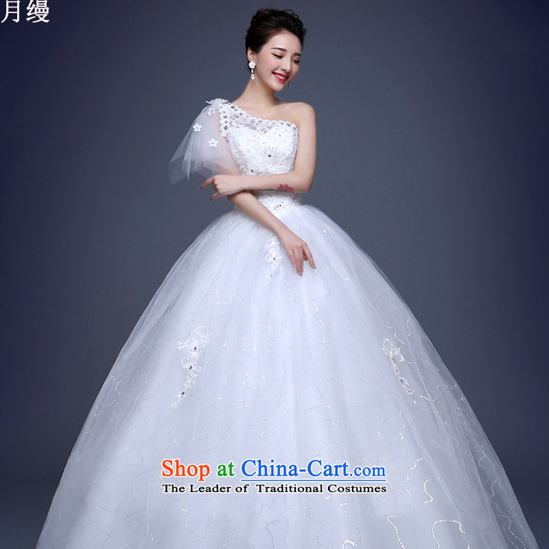 The following new paragraph on 2015 wedding dresses winter Korean fashion lace shoulder to align the large graphics thin White聽XXL Sau San
