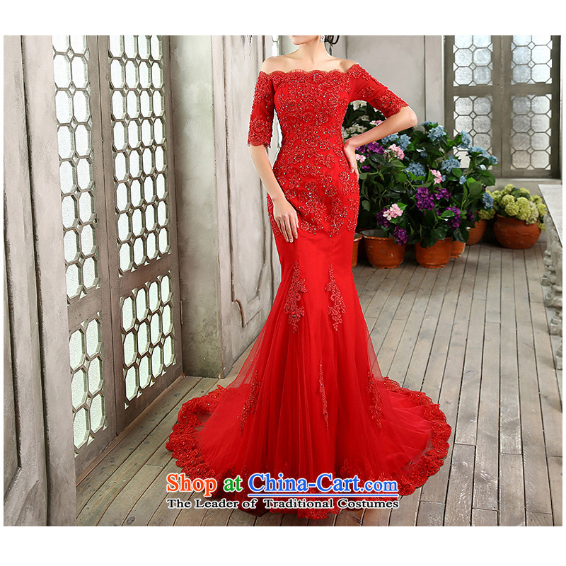 As wedding dresses, 2015 NEW GRAPHICS word thin shoulders tail Korean lace foutune straps in Sau San crowsfoot cuff size is made red returning