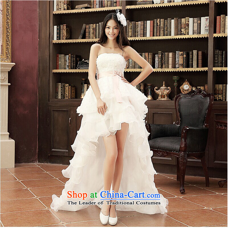 On earlier wedding dresses, before the new 2015 after long and short chest small trailing Korean straps wedding photography subject White?M