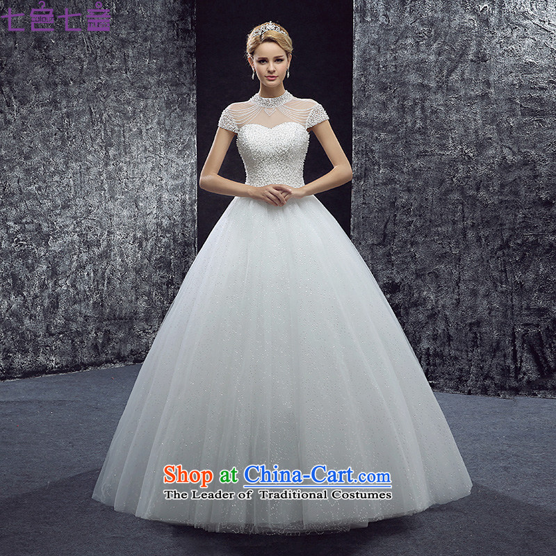 7 7 color tone 2015 new palace to align the collar of the word wedding fashion bridal package shoulder shoulder bon bon skirt wedding dress H090 white tailored (does not allow)
