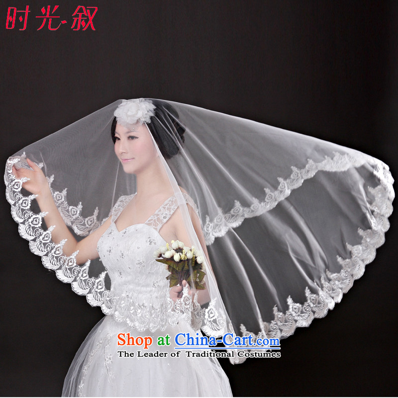 Time and legal marriages Syrian?2015 new Korean romantic white lace 1.5 m to 3 m long, wedding headdress White 3M