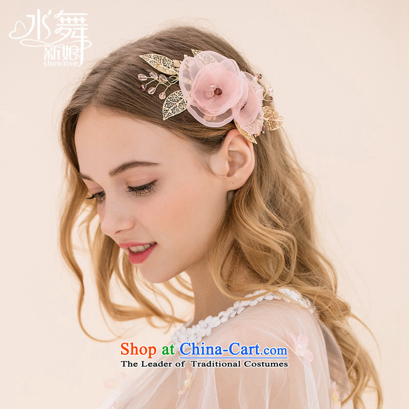 Water & Floral Hairpiece silk yarn flowers water drilling head ornaments marriage edge clips wedding accessories
