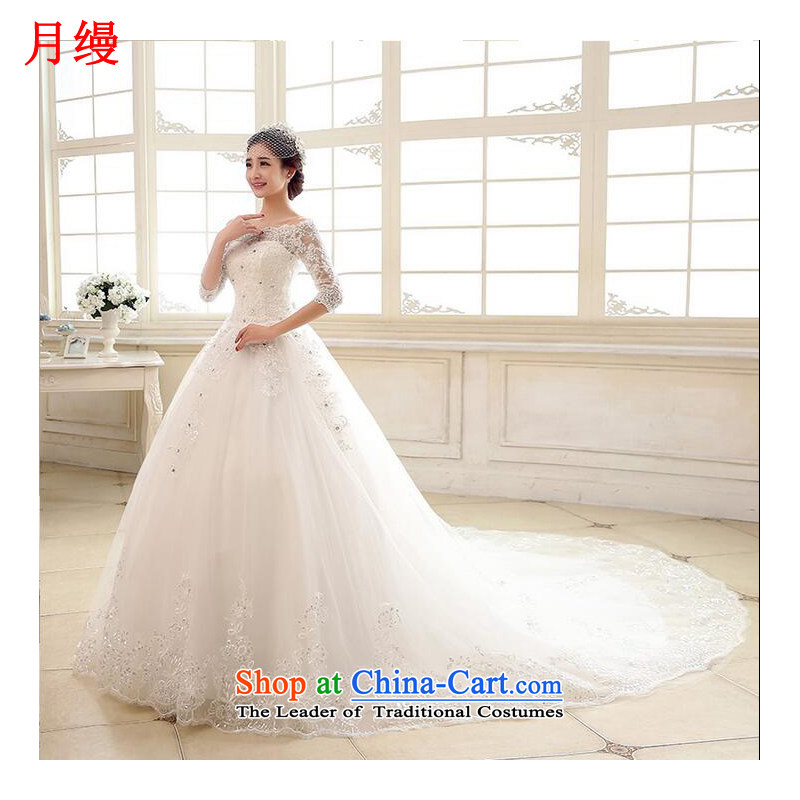 As wedding dresses, 2015 New Word to align the shoulder tail autumn and winter in water drilling lace cuff Sau San tie wedding white streak�L