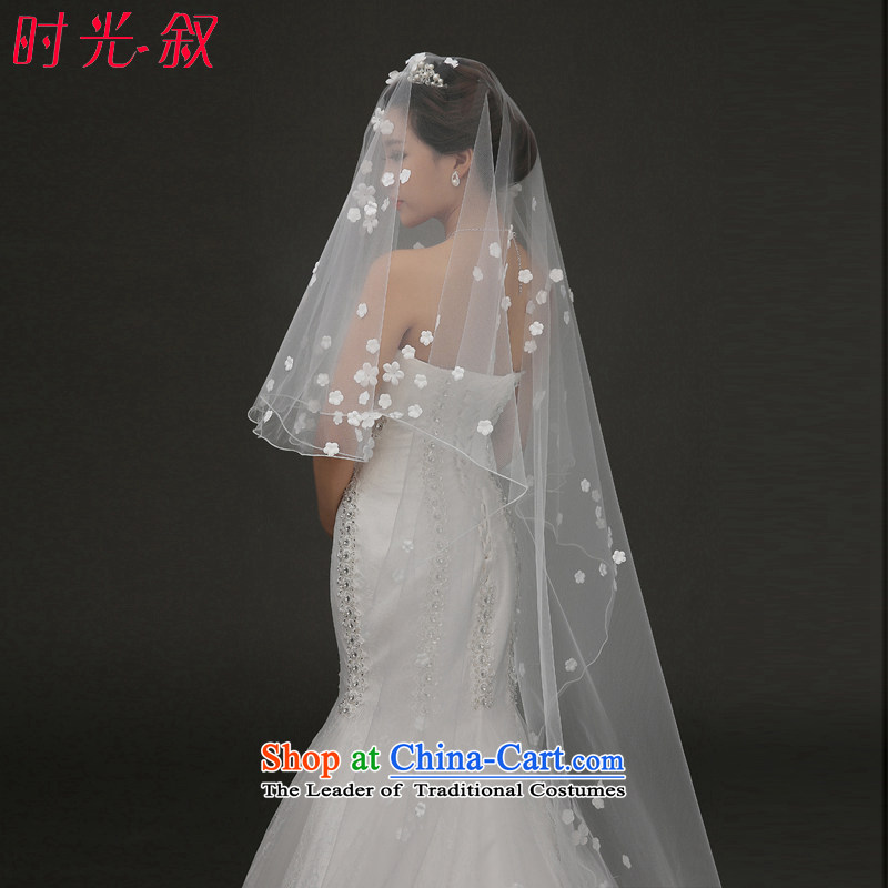 The Syrian brides Korean-time new white flowers wedding head stereo yarn wedding accessories marriage and legal white car