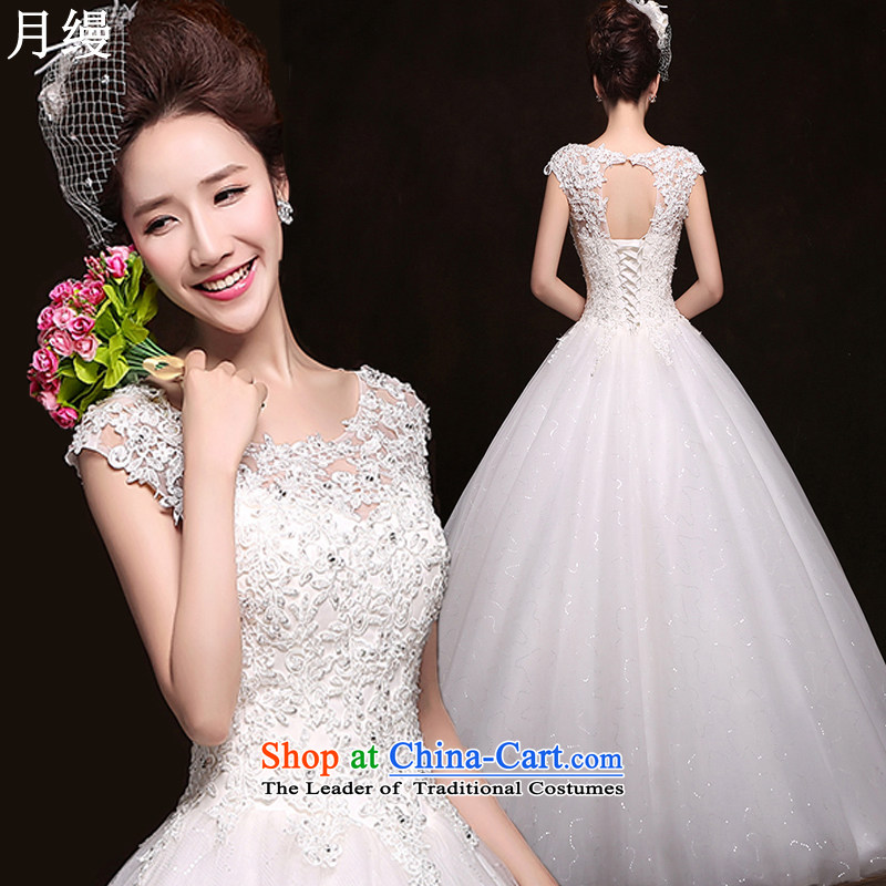 As wedding dresses, 2015 New Korean fashion shoulders lace straps to align graphics Sau San thin wedding White M