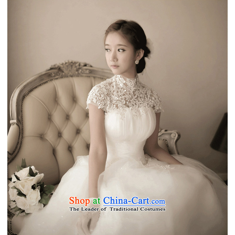 The following new paragraph on 2015 wedding dresses autumn and winter Korean word package shoulder shoulder upscale lace diamond wedding to align the princess White聽XL