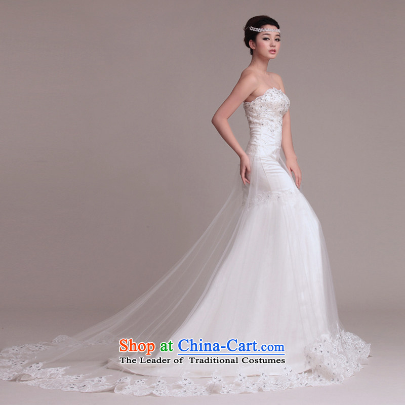 As wedding dresses, 2015 New Korean crowsfoot long tail Sau San lace wipe his chest retro wedding White?M