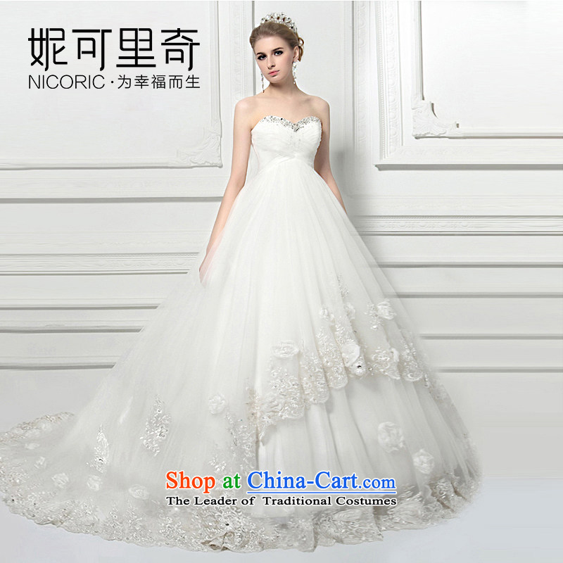 Wedding dress of autumn and winter 2015 new water drilling and chest pregnant women high waist wedding deluxe tail high-end custom large western Sau San white聽L
