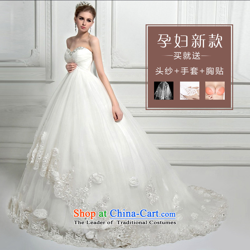 Wedding dress of autumn and winter 2015 new water drilling and chest pregnant women high waist wedding deluxe tail high-end custom western large white聽L, Nicole Kidman Sau San (nicole richie) , , , shopping on the Internet