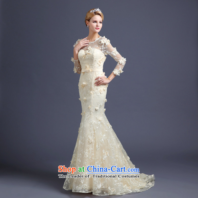 Each�new Korea 2015 Ni-dimensional flowers shoulders crowsfoot small trailing wedding champagne color long-sleeved autumn and winter wedding dress champagne color�XL
