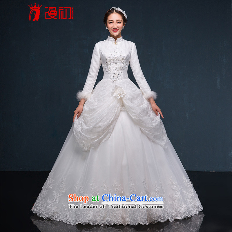 In the early 2015 new man bride winter wedding long-sleeved thick winter, Wedding Korean version thin winter wedding dresses white?S