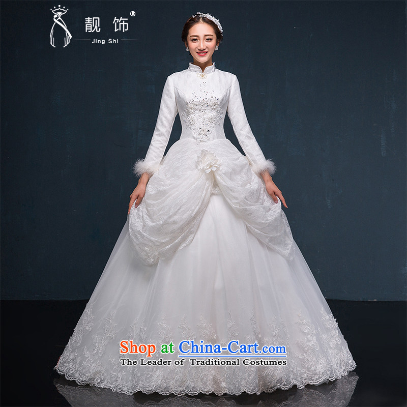 The new international friendship 2015 winter wedding long-sleeved thick winter, Wedding Korean brides winter wedding dresses White?M
