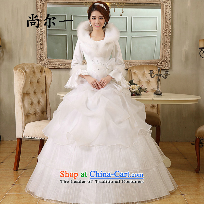Naoji a winter new thick to align the Korean marriages long-sleeved plus the word cotton shoulder Wedding 1082 White?M