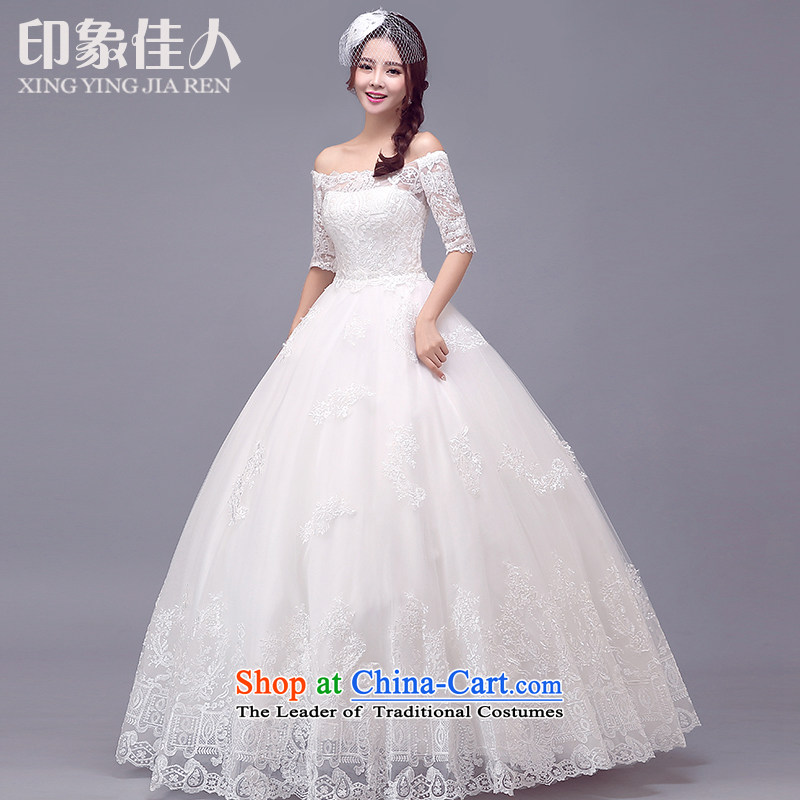 Starring impression new 2015 wedding dresses long-sleeved slotted shoulder lace temperament long tail marriages bon bon skirt?XL