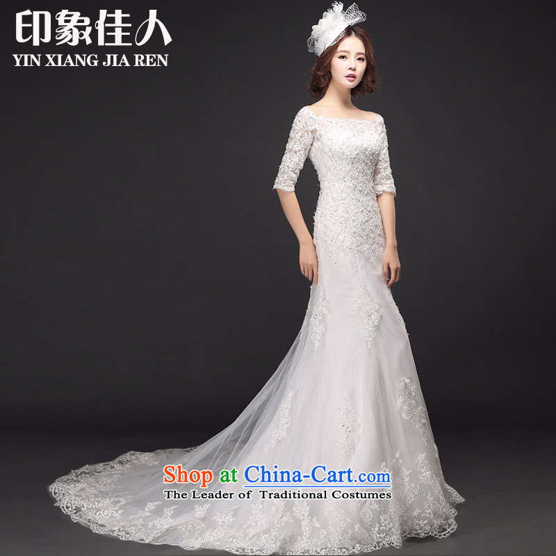 Starring impression new bride a 2015 field in shoulder long-sleeved crowsfoot tail wedding dresses lace temperament long tail Sau San S