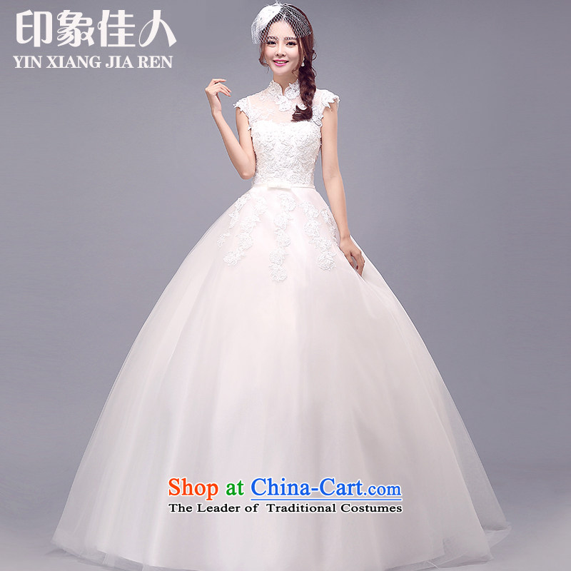 Starring impression wedding dresses 2015 Winter New Asian layout Mock-neck wedding shoulders align to custom video thin word bride shoulder wedding�L