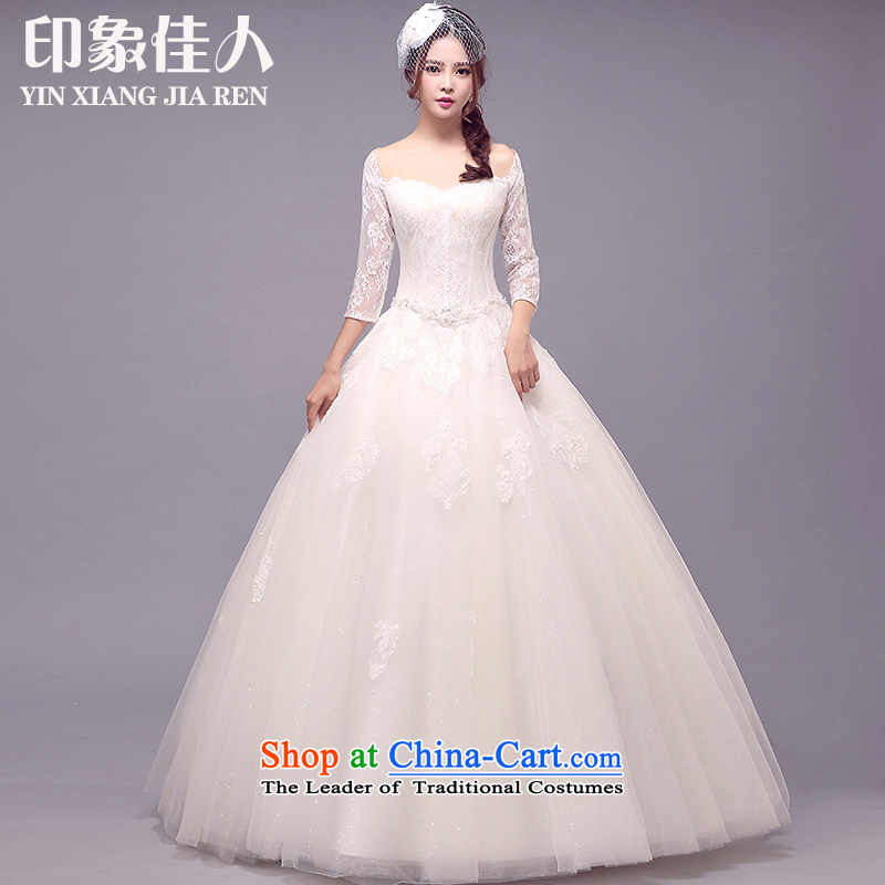 2015 Autumn, starring impression new lace a long-sleeved field shoulder V-neck in bride wedding cuff to align the wedding dress?S