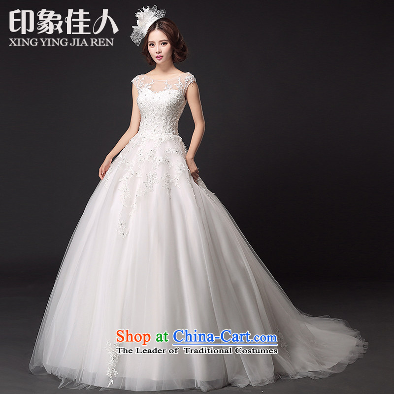 Starring impression of the Word 2015 new shoulder bride wedding drag Sau San Mei lace package shoulder small trailing wedding dresses?S