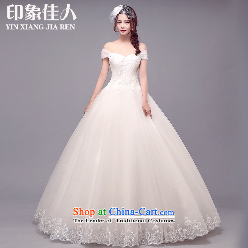 Starring impression wedding dresses one field for package shoulder-shoulder shoulder Korean marriages larger alignment strip cuff wedding of autumn and winter?S