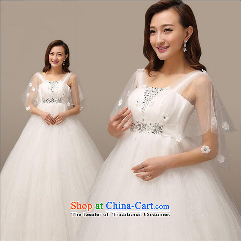 On the risk pregnant women wedding dresses 2015 new high-lumbar autumn and winter Korean style to align the shoulder straps, large wedding made no size White Replacement