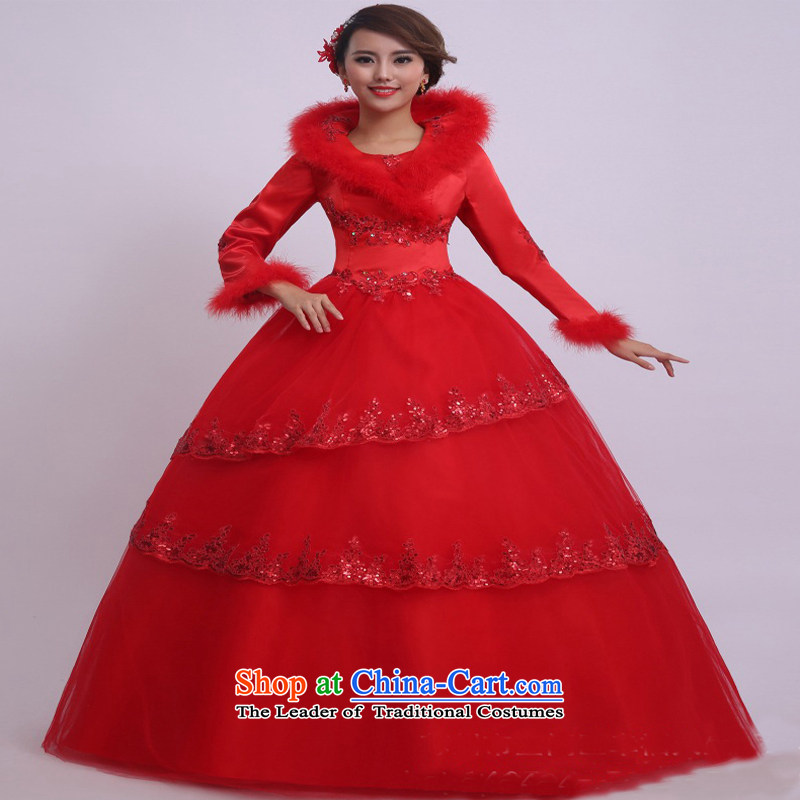 On earlier winter wedding dresses new 2015 gross for a field to align the shoulder long-sleeved thick Sau San video thin bride wedding red�S
