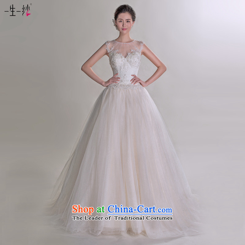Sylvia Gu Jing Dong fell in love with the same ultra-template wedding dress autumn 2015 Korean strap tail retro package shoulder pregnant women wedding 401501246 champagne color tailored for not returning the not-for-