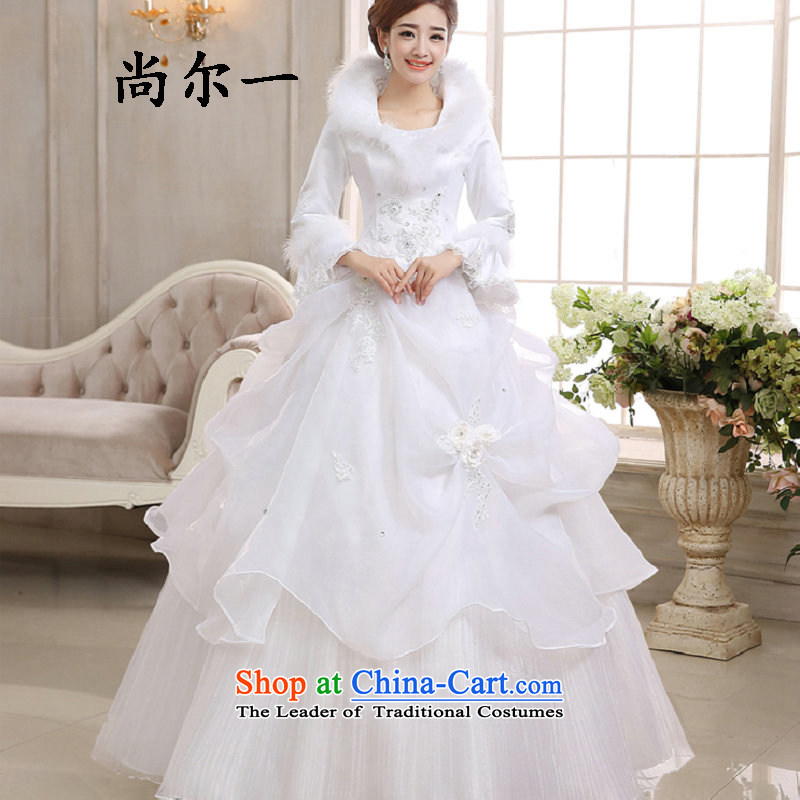 Naoji in the Korean version of the stylish winter, warm word marriages shoulder marriage long-sleeved wedding dresses 1091 White?M