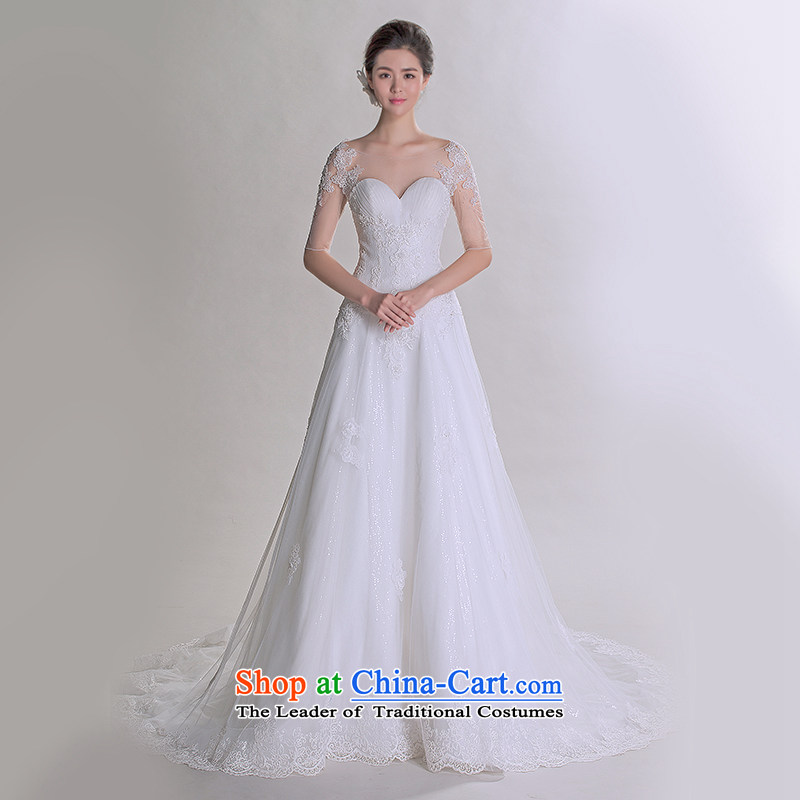 A lifetime of 2015 the new Korean lace package shoulder straps Sau San video thin luxury tail advanced customization wedding 401501241 white tailored for not returning the not-for-