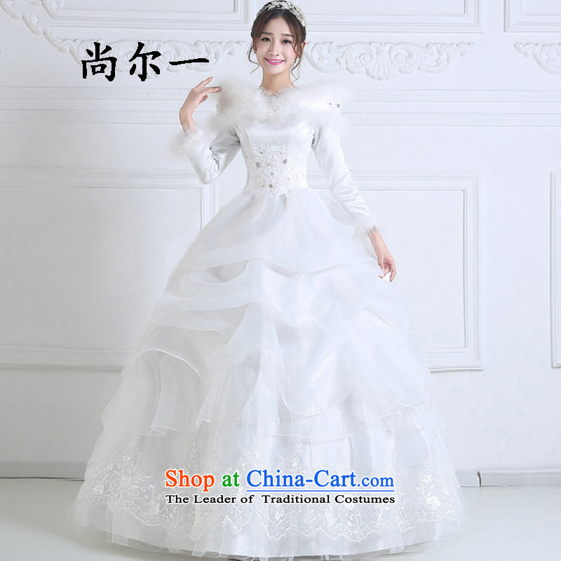 Yet, a winter clothing new Korean sweet princess plus gross cotton for long-sleeved winter, Bridal Suite 1092 White + 3-piece set?L