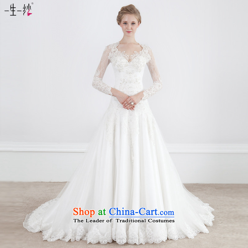 2015 Autumn and winter new long-sleeved bride wedding dresses long tail palace package shoulder personality retro custom?  40151062 Sau San?white tailored for not returning the not-for-