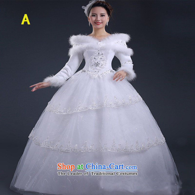 On earlier winter wedding dresses new 2015 gross for a field to align the long-sleeved shoulder straps Sau San video thick thin white wedding A�M