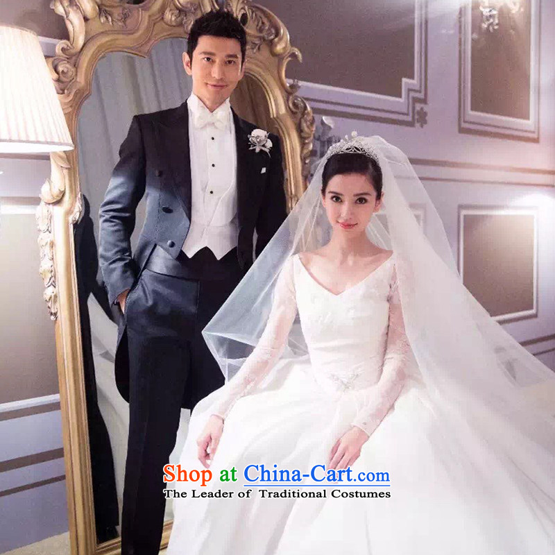 The same angelababy wedding dress bride winter 2015 new Korean long tail long-sleeved shoulders wedding autumn white tailored